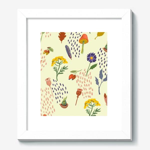 Картина «Цветы, осенние листья, перья, желуди, орехи»
