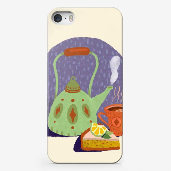 Чехол iPhone «Чайник, лимонный пирог и кружка. Осеннее.»