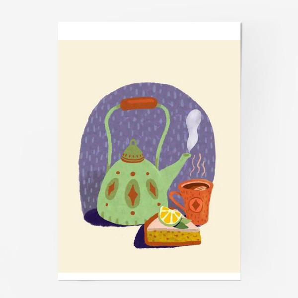 Постер «Чайник, лимонный пирог и кружка. Осеннее.»