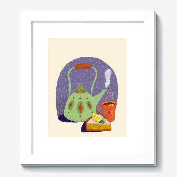 Картина «Чайник, лимонный пирог и кружка. Осеннее.»