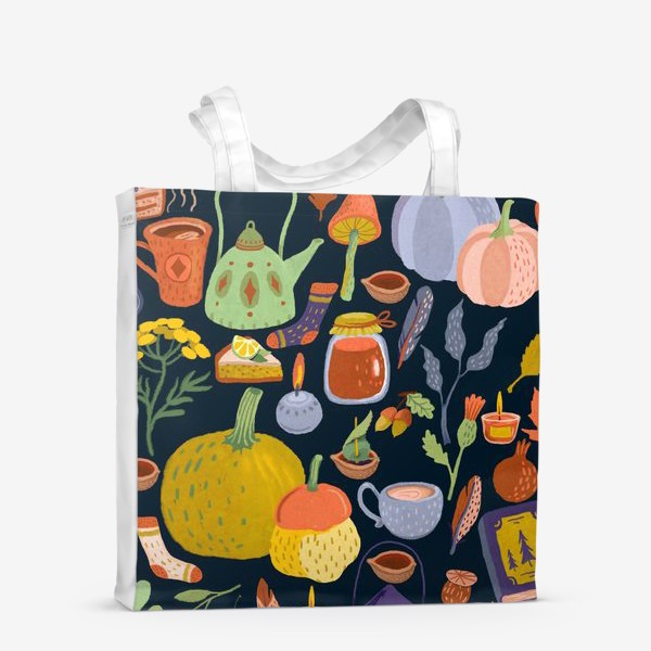 Сумка-шоппер «Тыквы, чайник, листья, свечи, варенье, книга, сладости»