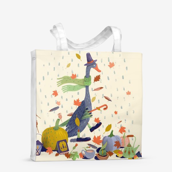 Сумка-шоппер «Гусь в шляпе, тыквы, чайник, книга, фонарь, осенние листья»