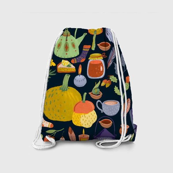 Рюкзак «Тыквы, чайник, листья, свечи, варенье, книга, сладости»