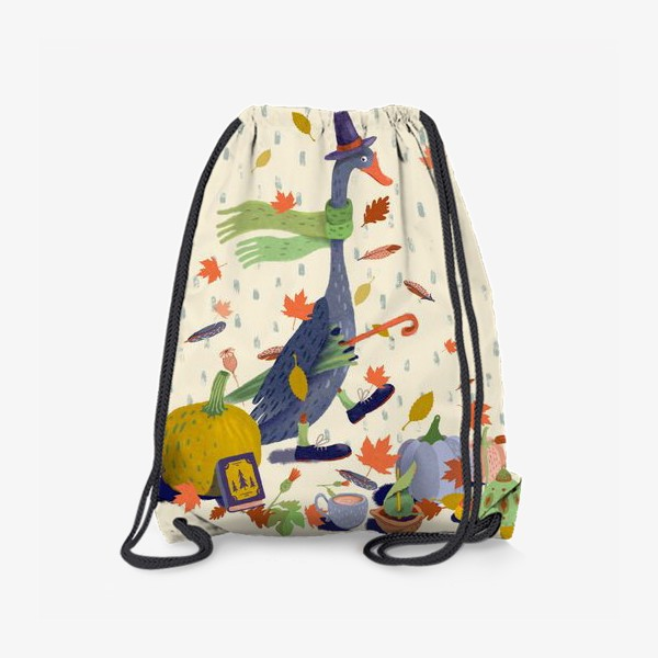 Рюкзак «Гусь в шляпе, тыквы, чайник, книга, фонарь, осенние листья»