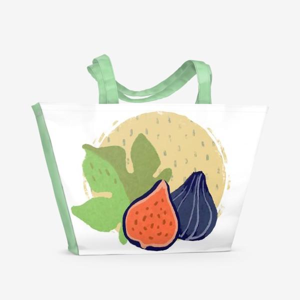 Пляжная сумка «Инжир на фоне круга и дождя»