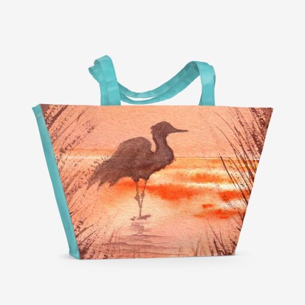 Пляжная сумка «Птица на закате»