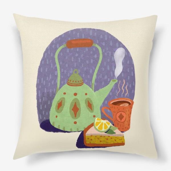 Подушка «Чайник, лимонный пирог и кружка. Осеннее.»