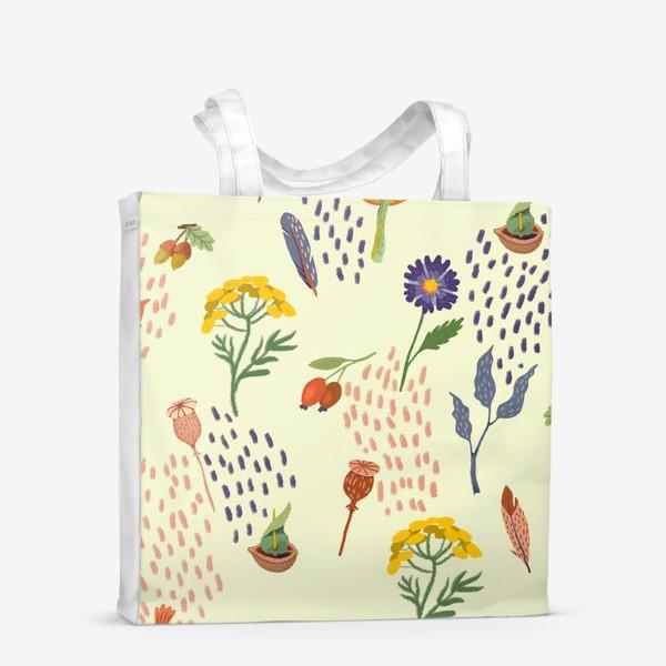 Сумка-шоппер «Цветы, осенние листья, перья, желуди, орехи»