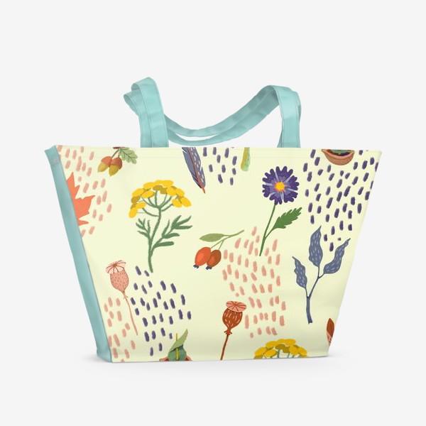 Пляжная сумка «Цветы, осенние листья, перья, желуди, орехи»