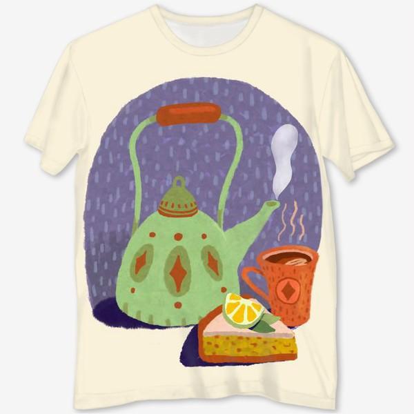 Футболка с полной запечаткой «Чайник, лимонный пирог и кружка. Осеннее.»