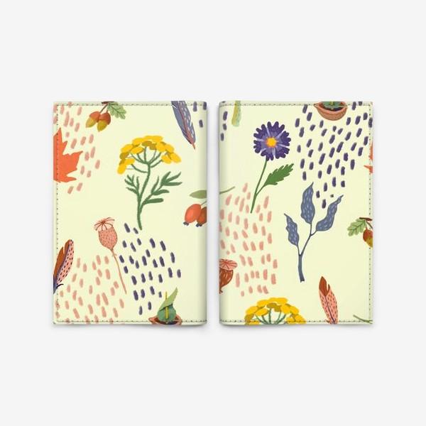 Обложка для паспорта «Цветы, осенние листья, перья, желуди, орехи»