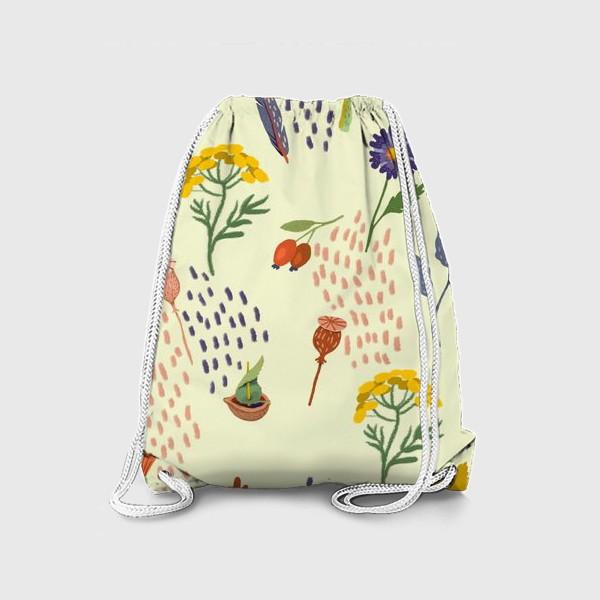 Рюкзак «Цветы, осенние листья, перья, желуди, орехи»