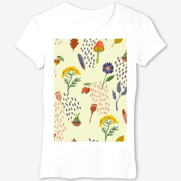 Футболка «Цветы, осенние листья, перья, желуди, орехи»