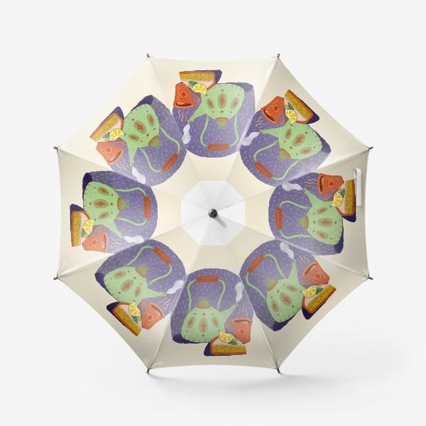 Зонт «Чайник, лимонный пирог и кружка. Осеннее.»