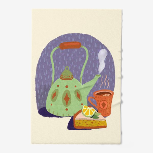 Полотенце «Чайник, лимонный пирог и кружка. Осеннее.»