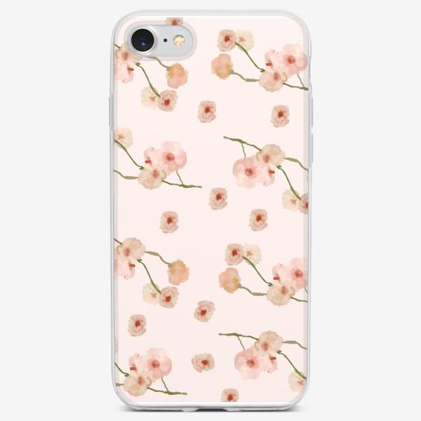 Чехол iPhone «Паттерн цветы сакуры на розовом»