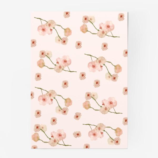 Постер «Паттерн цветы сакуры на розовом»