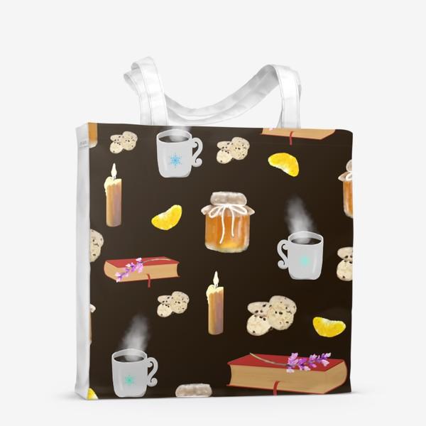 Сумка-шоппер «Осенний, зимний натюрморт, мед, чай, печенье, книги»