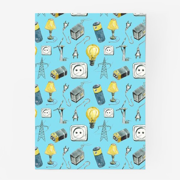 Постер «Электричество (провода, розетка, лампа, батарейка, трансформатор, турбина, ветряк, вышка, электропередача)»