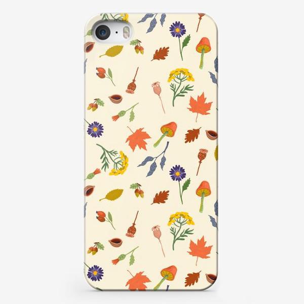 Чехол iPhone «Осенние листья, цветы, грибы, желуди, орехи»