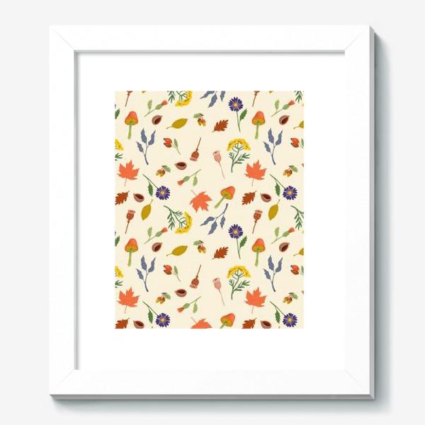 Картина «Осенние листья, цветы, грибы, желуди, орехи»