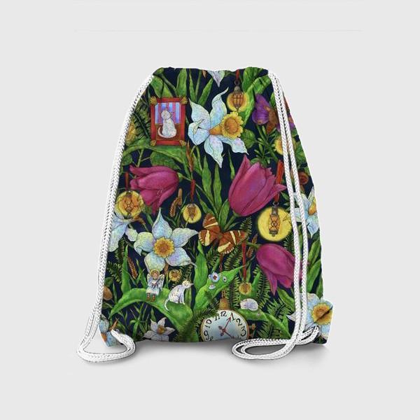 Рюкзак «Старая сказка в саду с тюльпанами и нарциссами»