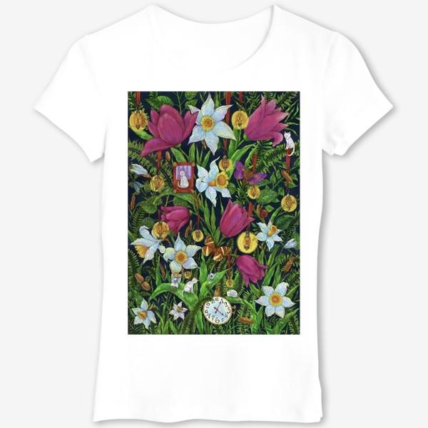 Футболка «Старая сказка в саду с тюльпанами и нарциссами»