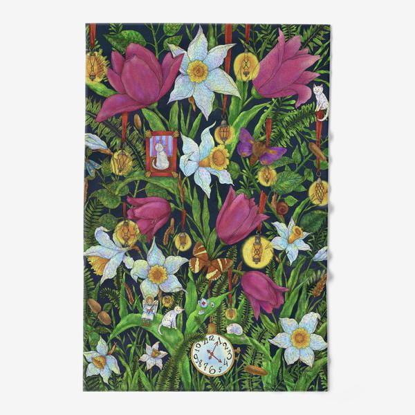 Полотенце «Старая сказка в саду с тюльпанами и нарциссами»
