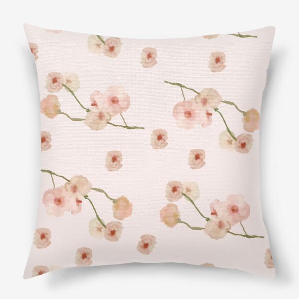 Подушка «Паттерн цветы сакуры на розовом»