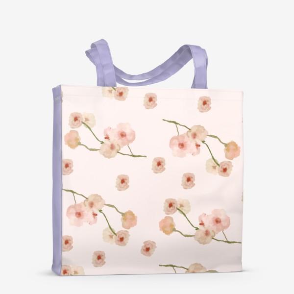 Сумка-шоппер «Паттерн цветы сакуры на розовом»
