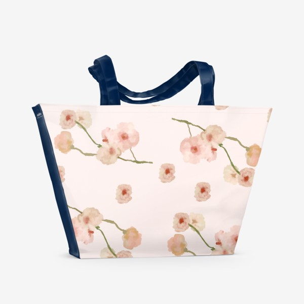 Пляжная сумка «Паттерн цветы сакуры на розовом»