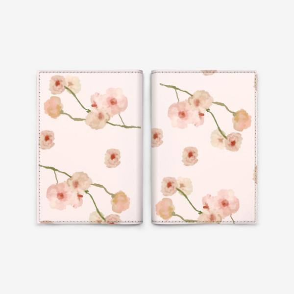 Обложка для паспорта «Паттерн цветы сакуры на розовом»