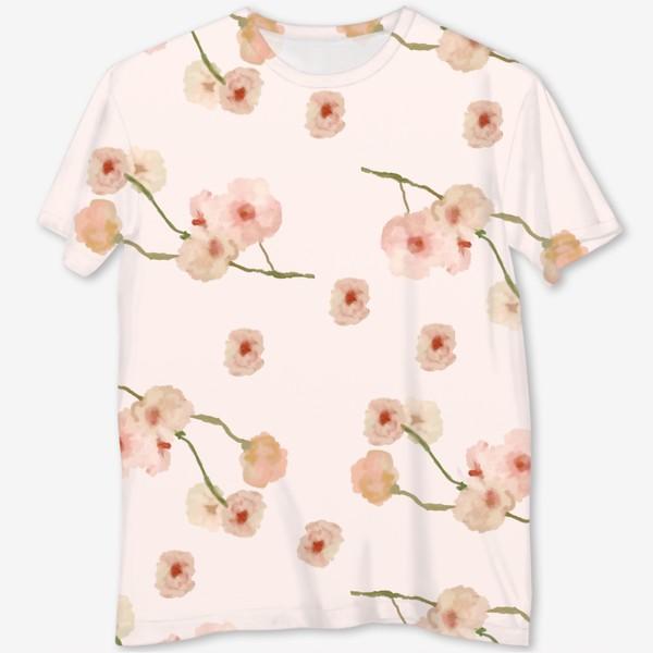 Футболка с полной запечаткой «Паттерн цветы сакуры на розовом»