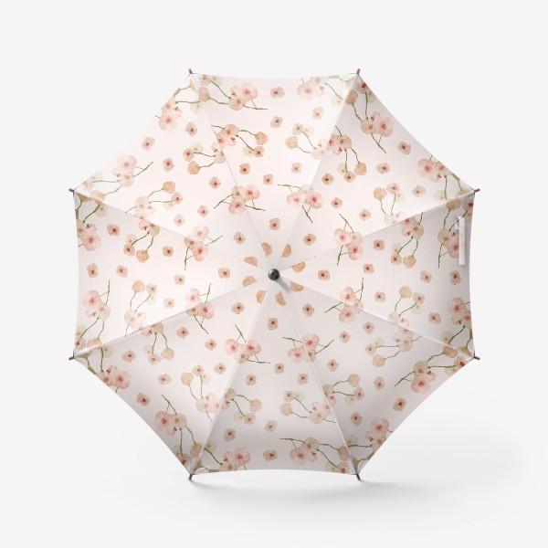 Зонт «Паттерн цветы сакуры на розовом»