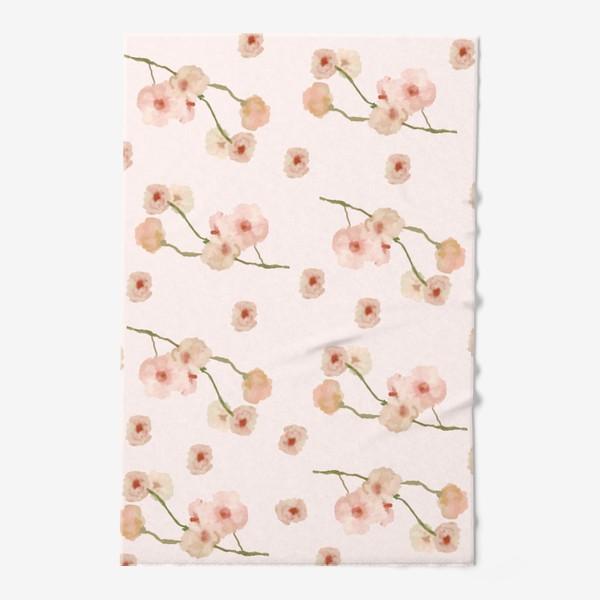 Полотенце «Паттерн цветы сакуры на розовом»