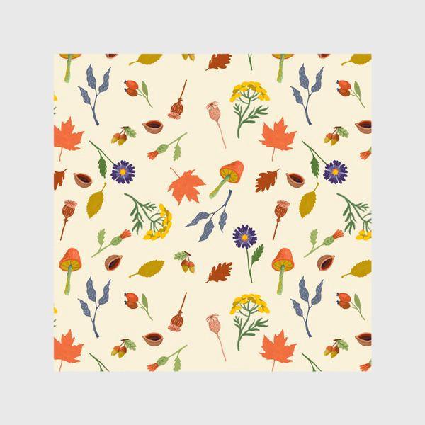 Шторы «Осенние листья, цветы, грибы, желуди, орехи»