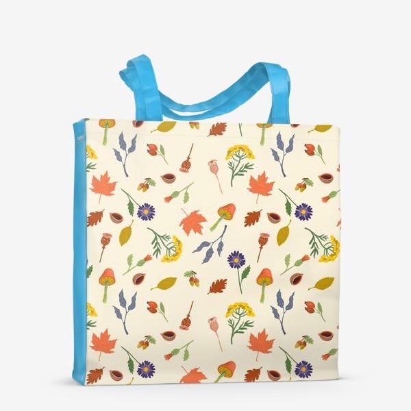 Сумка-шоппер «Осенние листья, цветы, грибы, желуди, орехи»