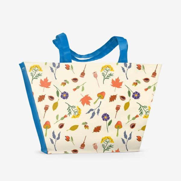 Пляжная сумка «Осенние листья, цветы, грибы, желуди, орехи»
