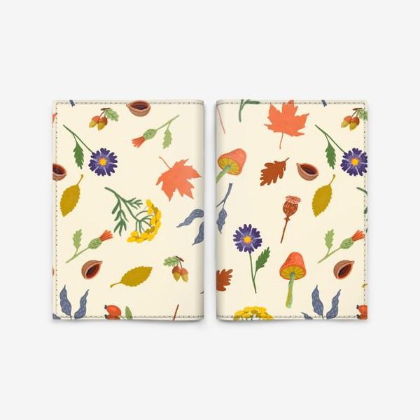 Обложка для паспорта «Осенние листья, цветы, грибы, желуди, орехи»