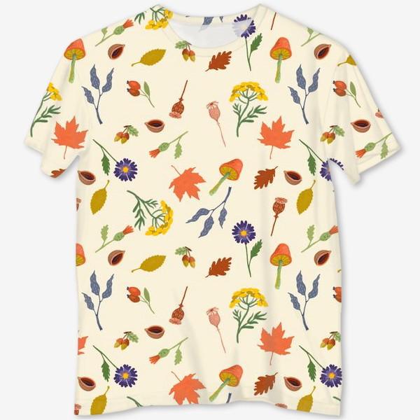 Футболка с полной запечаткой «Осенние листья, цветы, грибы, желуди, орехи»