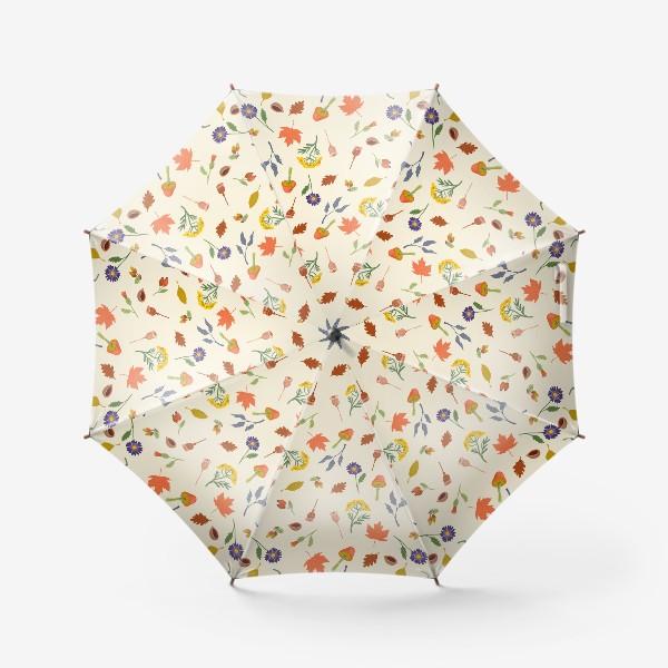 Зонт «Осенние листья, цветы, грибы, желуди, орехи»