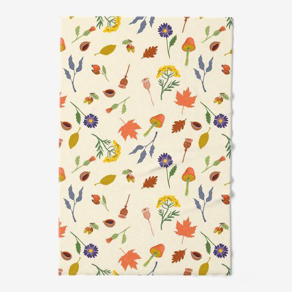 Полотенце «Осенние листья, цветы, грибы, желуди, орехи»