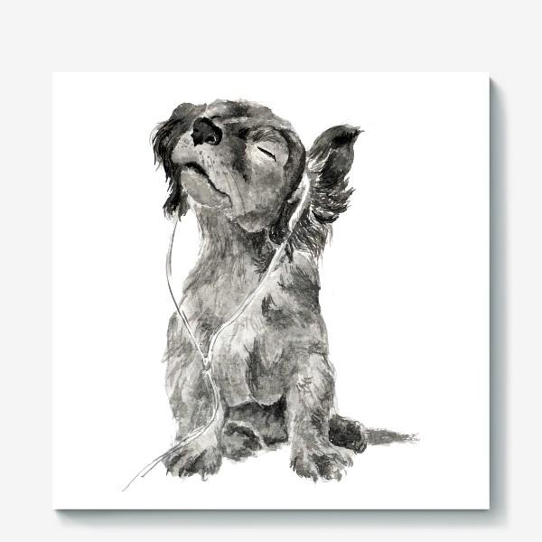 Холст «Собака щенок спаниель в наушниках»