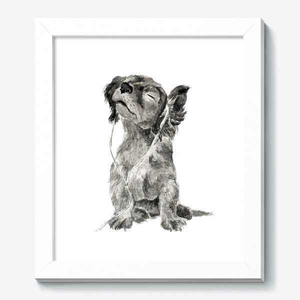 Картина «Собака щенок спаниель в наушниках»
