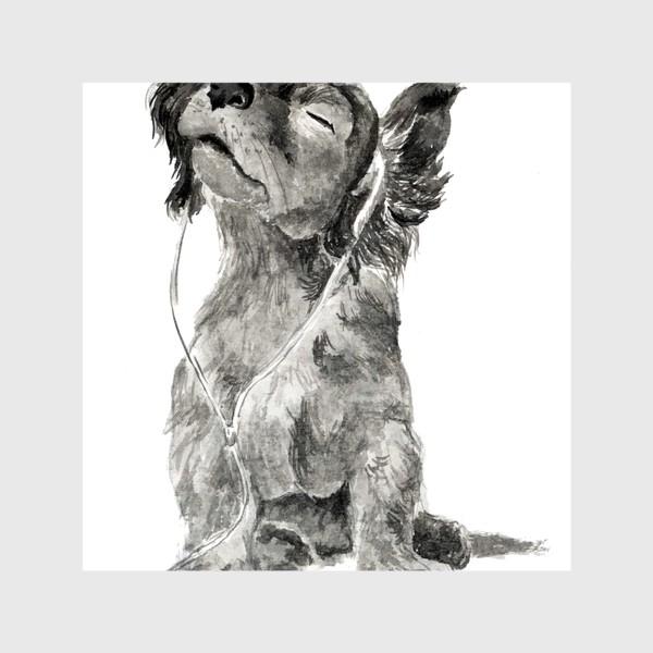 Шторы «Собака щенок спаниель в наушниках»