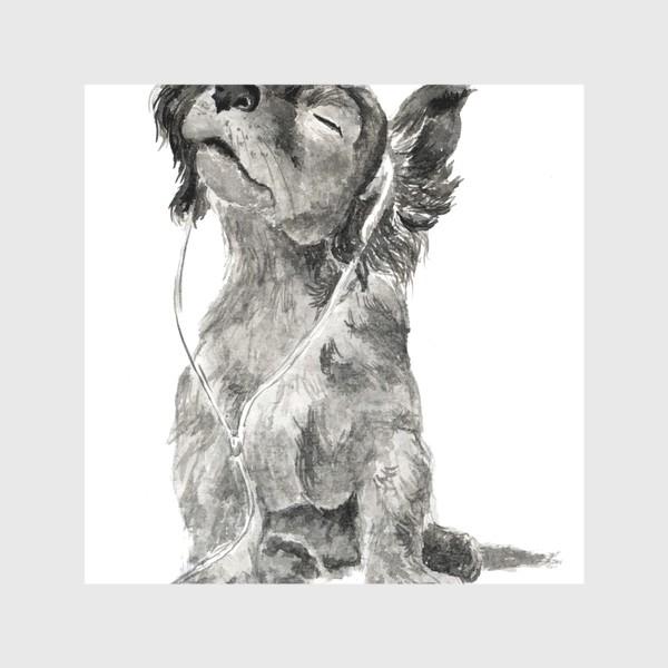 Скатерть «Собака щенок спаниель в наушниках»