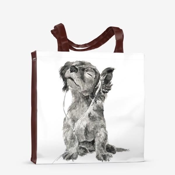 Сумка-шоппер «Собака щенок спаниель в наушниках»