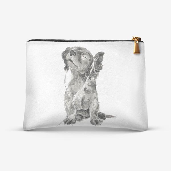 Косметичка «Собака щенок спаниель в наушниках»