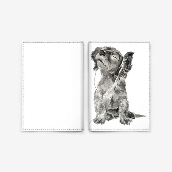 Обложка для паспорта «Собака щенок спаниель в наушниках»