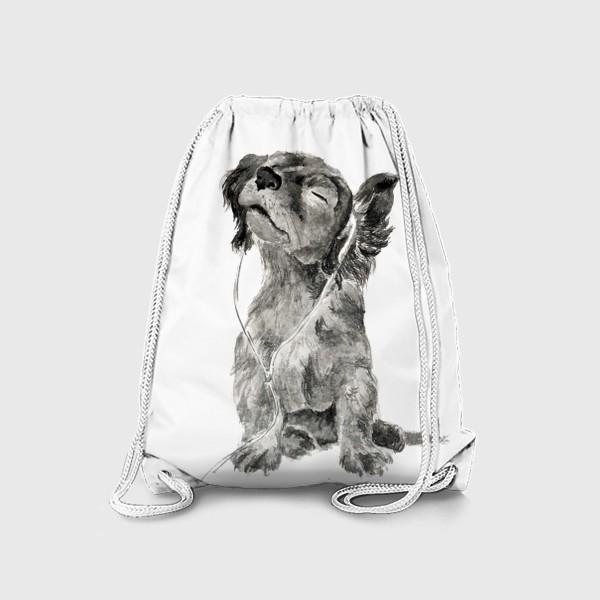 Рюкзак «Собака щенок спаниель в наушниках»